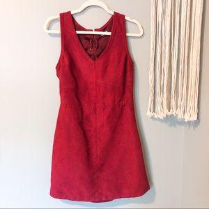 Hollister Burgundy Suede Dress Back Cutout Size 5